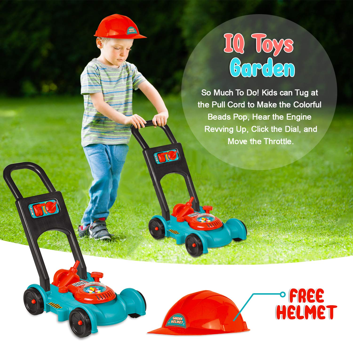 IQ Toys Garden Gas Lawn Mower with Gardener Hat and Pretend Gas Tank for Kids