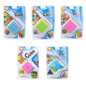 IQ Toys Speed Cubes Brain Twister Professional Puzzle Toys Set of 5 Educational Stickerless Magic Cubes - 2x2 3x3 4x4 5x5 & 3x3 Pyramid