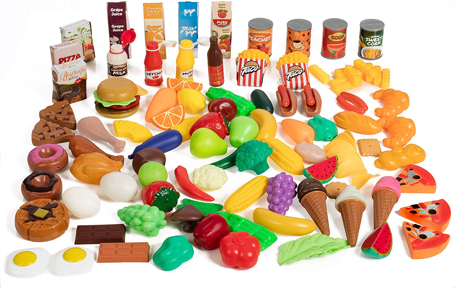 IQ Toys Deluxe 120 Piece Pretend Play Food Set, Hard Plastic