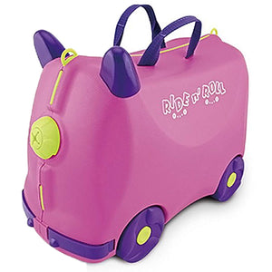 IQ Toys Ride N Roll Suitcase, Travel Luggage & Storage Bag Pink