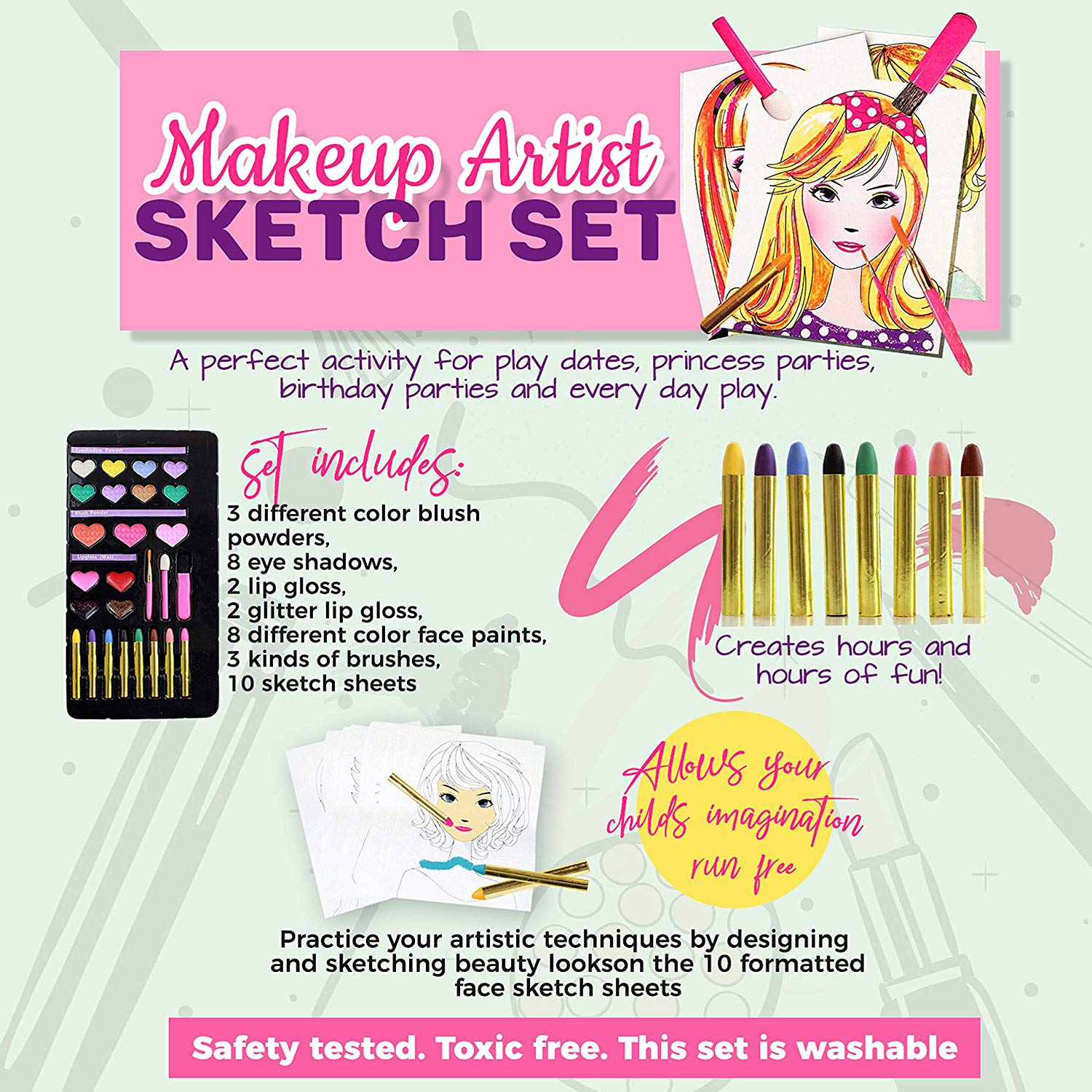 IQ Toys Makeup Artist Sketch Set with 10 Design Sketch Sheets. Create Hair Styles, Nail Designs, and Makeup Looks