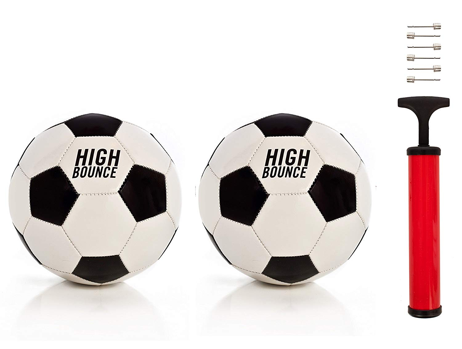 High Bounce Traditional Soccer Ball official size set of 2 including Pump & needles