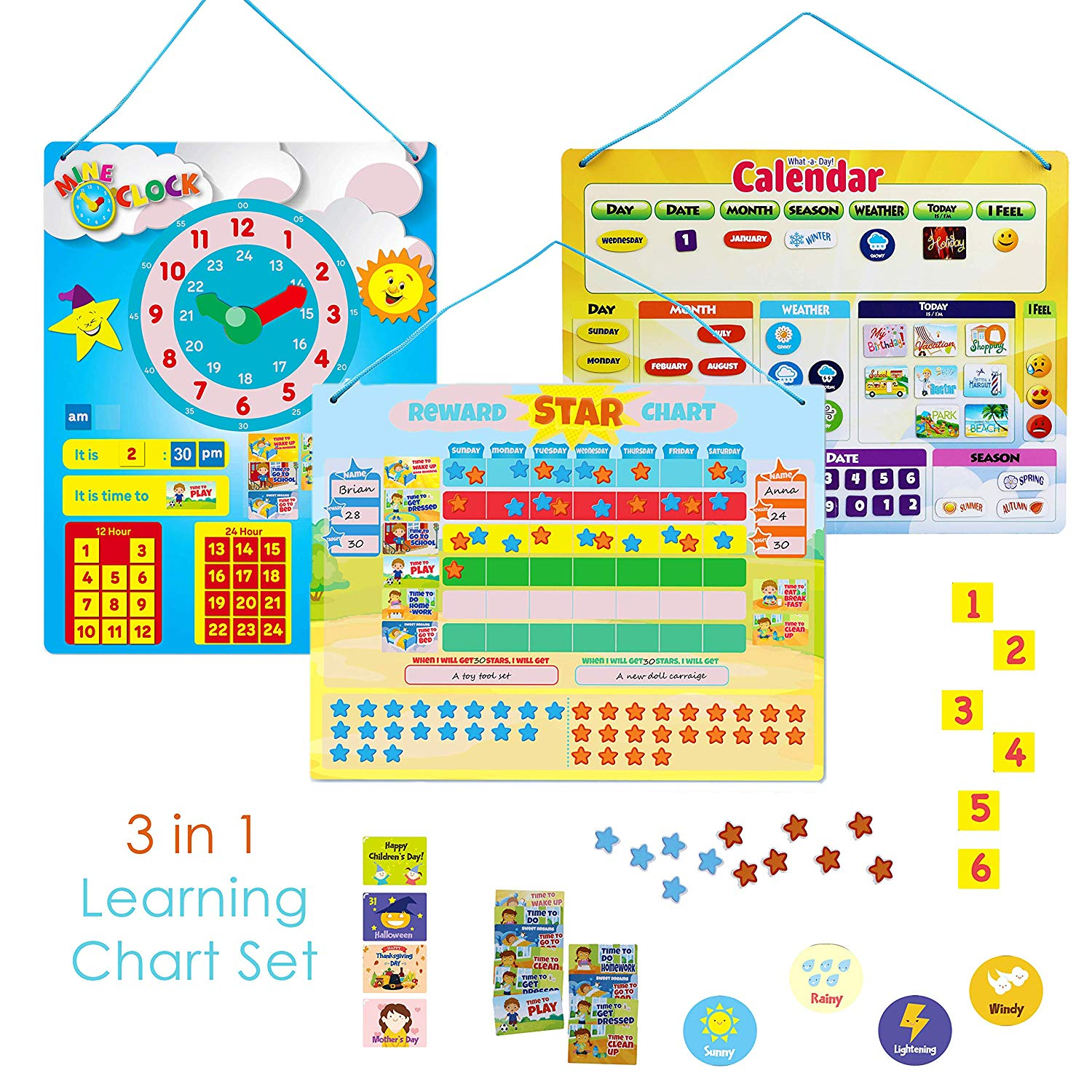 IQ Toys 3 in 1 Educational Posters Magnetic Learning Responsibility and Chore Charts - Kids Reward Star Chart, Children's Wall Calendar, and Time Telling Clock 186 Piece Magnetic All in One Chart Set