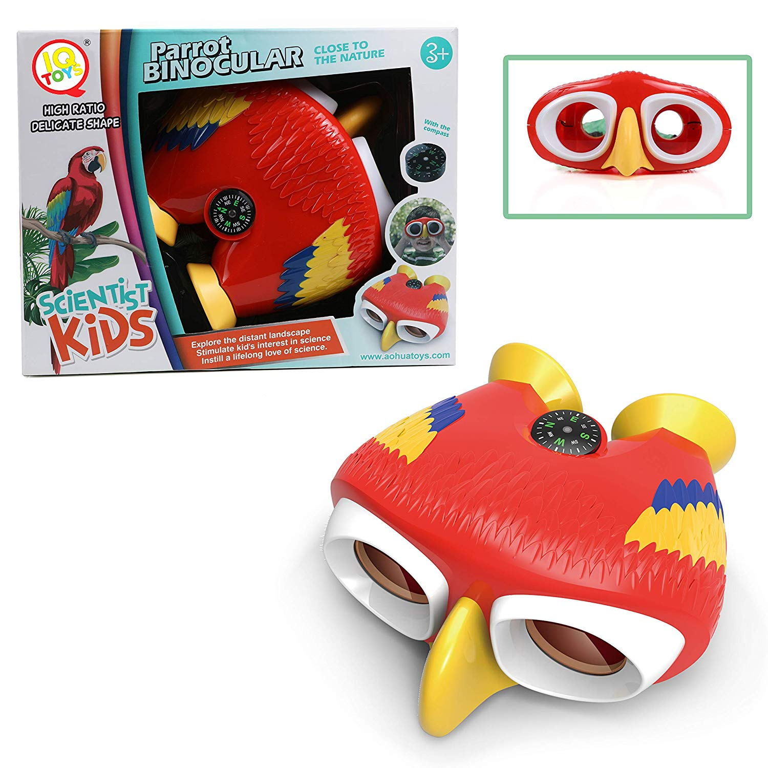IQ Toys Kids Binoculars with Compass for Pretend Play, Jungle, Forest, Mountain Exploration, Bird Watching, Camping and Hiking Fun Parrot Binoculars