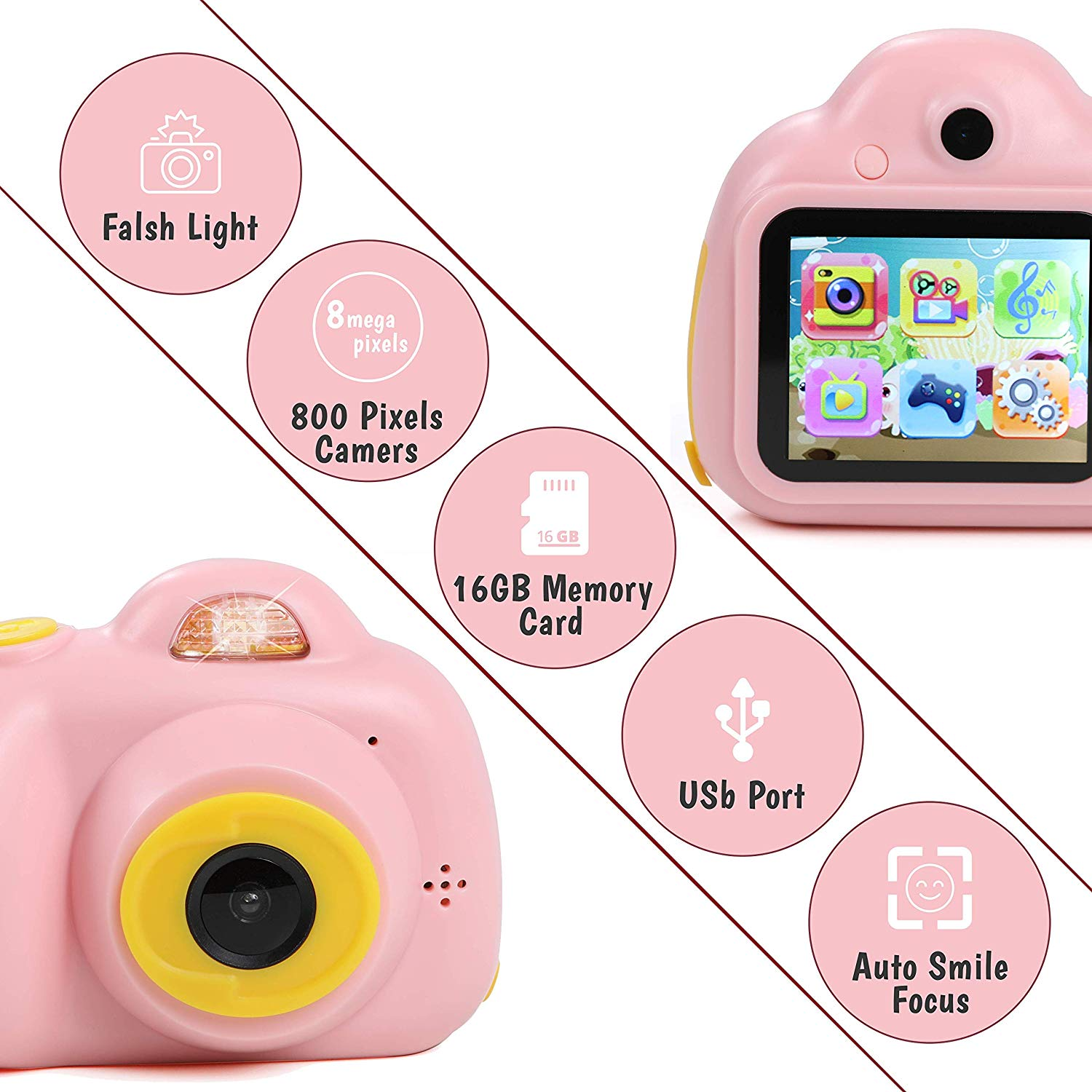IQ Toys Digital Camera Gift for Kids- takes Pictures, Videos, Records and Digital Image Playback. Mini Rechargable Camera Comes with USB Cable, 16 GB SD Card, and USB Card Reader Included