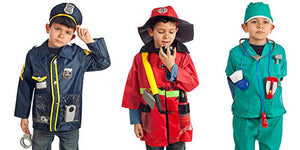 Set of 3 RESCUE Costumes Fireman Police & Doctor with Hats & over 15 accessories
