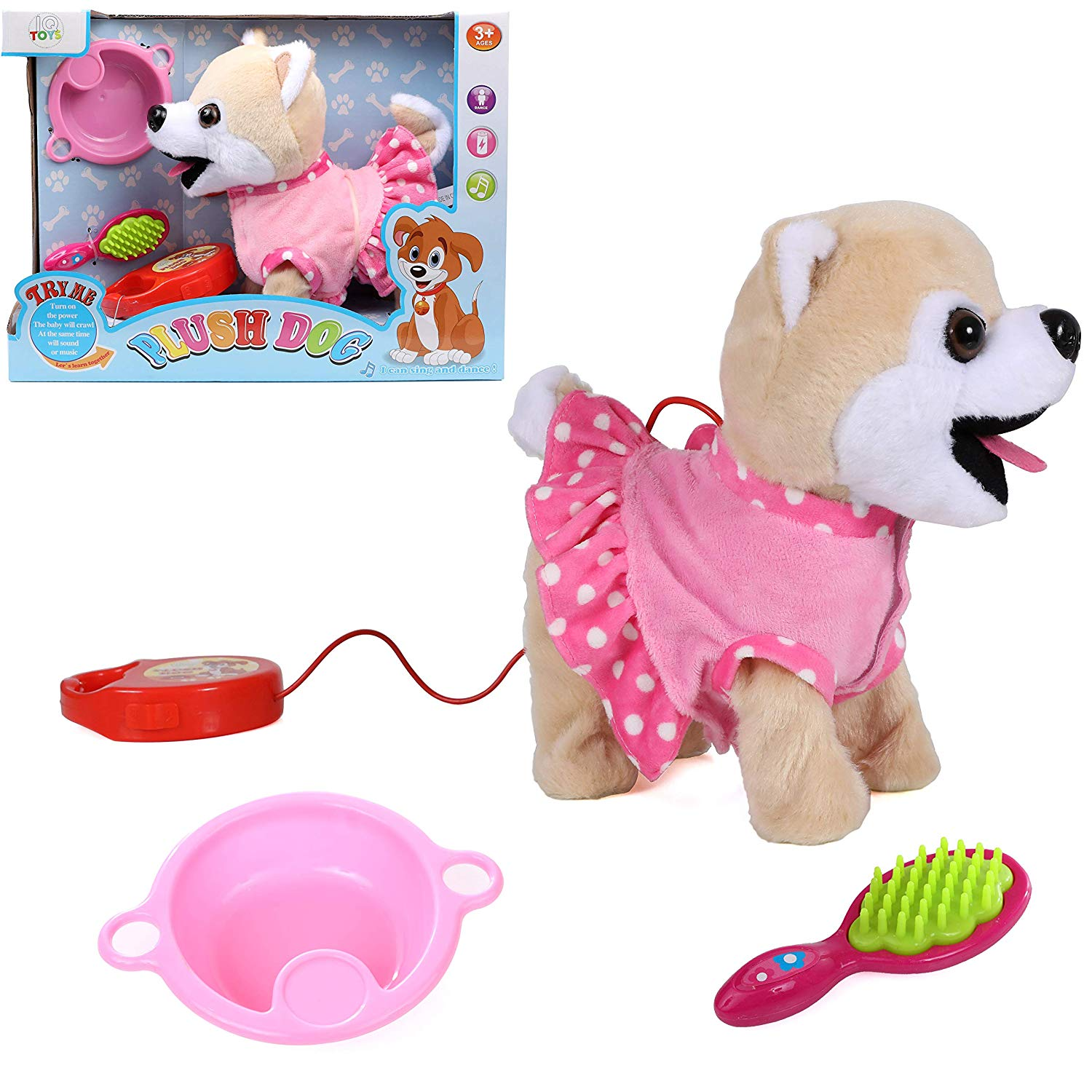 IQ Toys Remote Control Pet Dog Walking and Barking Plush Puppy Dog with Leash, and 2 Puppy Care Accessories