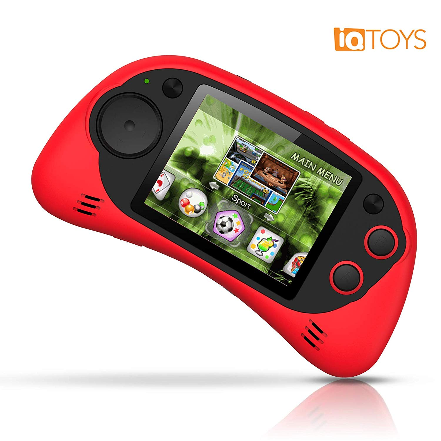 "IQ Toys Handheld Arcade Game Zone Player Console Classic 200 Preloaded Video Games for Kids, 16 BIT Large 2.7"" Screen, Rechargable, Red"