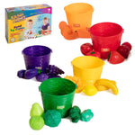 IQ Toys 30 Piece Color by Food Sorting Set - with 5 Color Coded Buckets. Complete Pretend Play and Learning Set