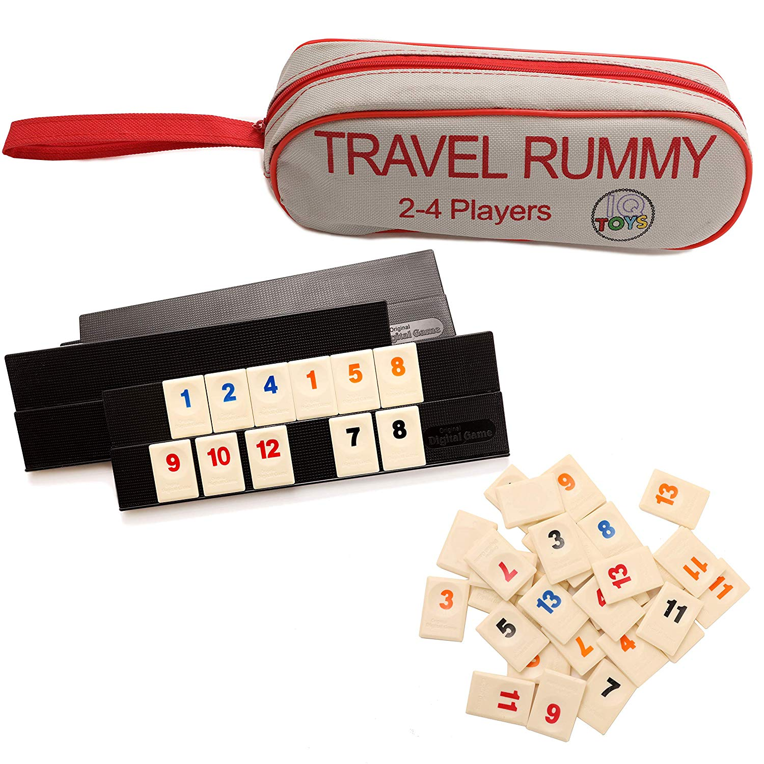Travel Rummy with 106 tiles with 4 boards for 4 players with a strong Travel bag