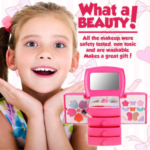 Washable Mini Compact Cosmetic Vanity Case With Mirror