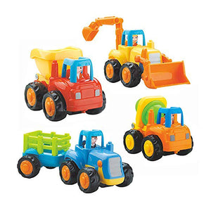 IQ Toys 4 Pack Friction-Powered Cartoon Vehicles for Toddlers, with Tractor, Bulldozer, Dump Truck and Cement Mixer