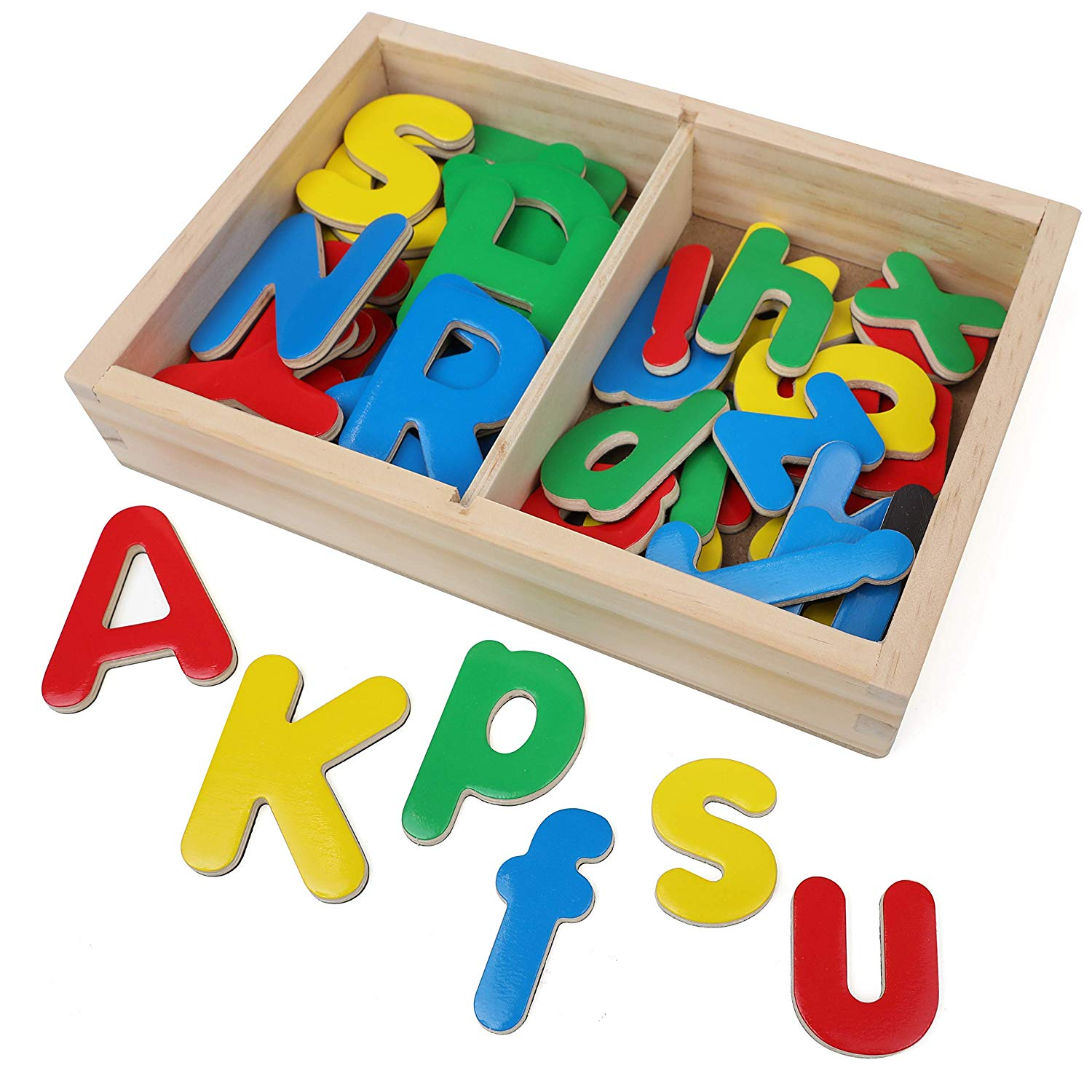 IQ Toys Wooden ABC Magnets, 52 Magnetic Uppercase and Lowercase Letters with Wooden Storage Box