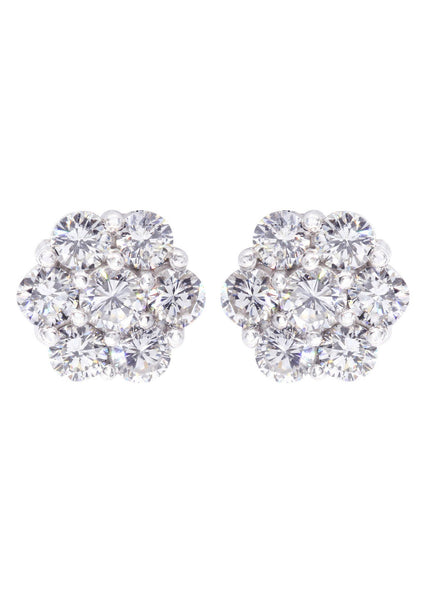Stud Diamond Earrings For Men Illusion Set | 14K White Gold | 0.66 Carats