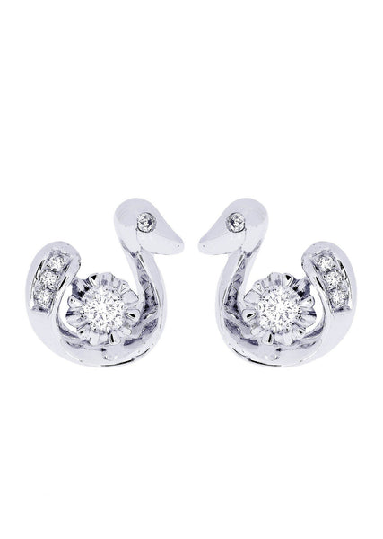 Swan Diamond Stud Earrings For Men | 14K White Gold | 0.28 Carats