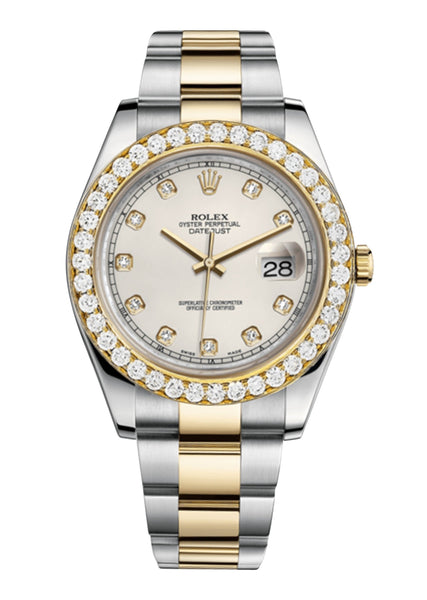 Rolex Datejust Ii Ivory Dial - Diamond Hour Markers With 5 Carats Of Diamonds