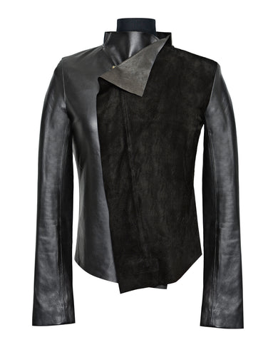 Black suede & leather tailored Jacket - Noel of Me