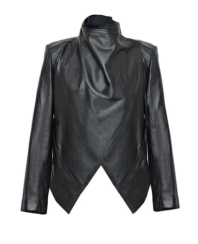 Draped high collar leather jacket - black - Noel of Me
