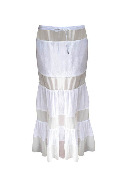 Long white bohemian skirt - Long skirt with transparent satin panel insets