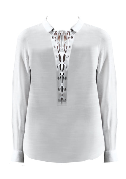 Long sleeves shirt with lace up eyelid bust detail Ricki - Noel of Me
