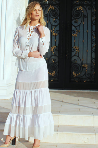 Long white bohemian skirt Sophia - Noel of Me