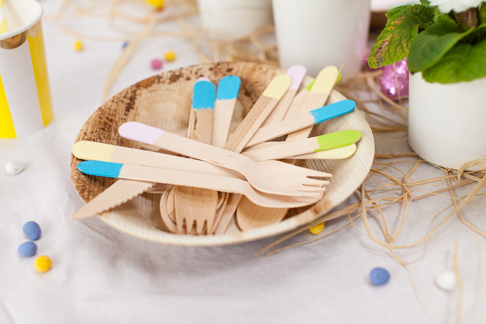 Paint dipped utensils for Parties