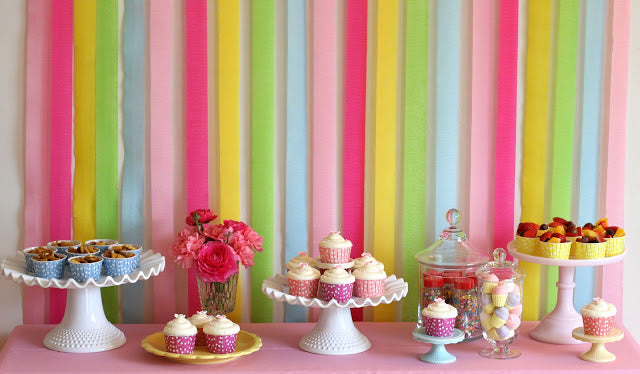 How to decorate with crepe paper streamers pretty little - Birthday decorations with crepe paper ...