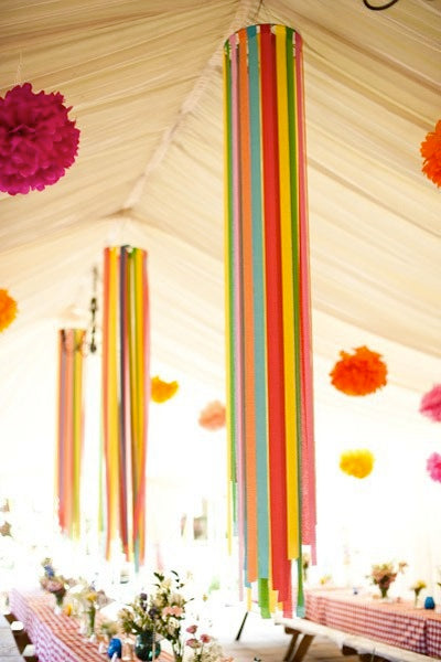 How to decorate with crepe paper streamers pretty little for Ceiling streamers