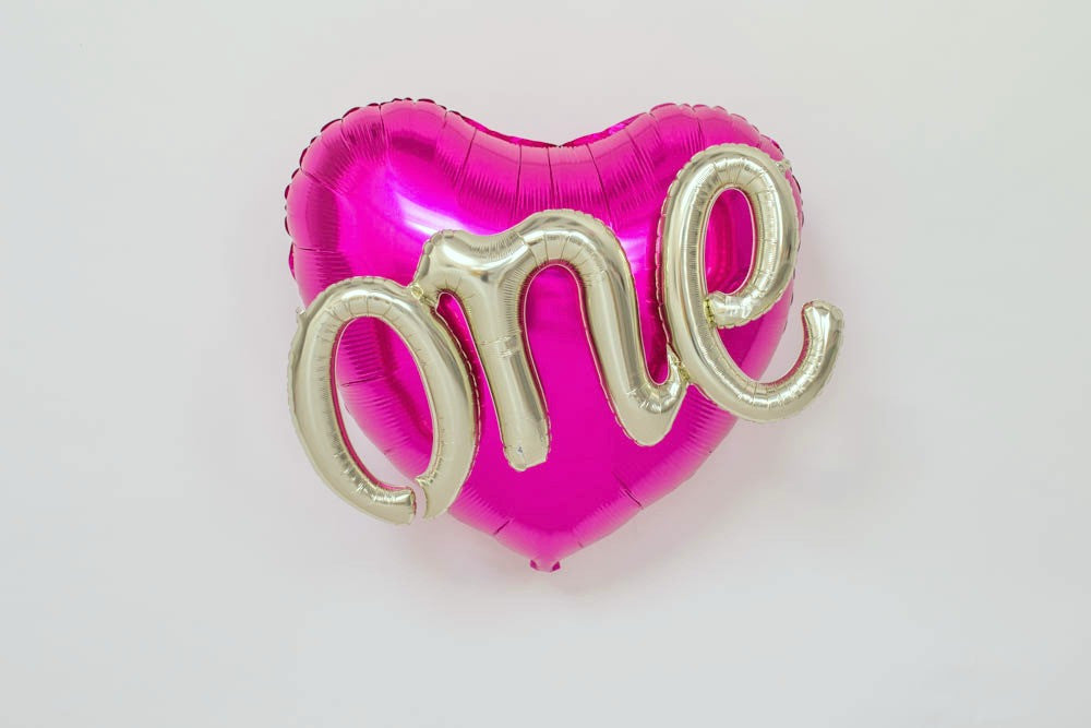 Pink Heart First Birthday Balloon