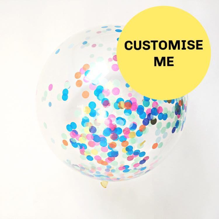 Big Custom Made Confetti Balloon | 2ft Confetti Filled Balloon Bespoke