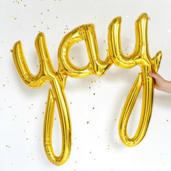 "33"" YAY Gold Script Balloon"