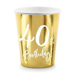 40th Birthday Party Cups | Gold Milestone Paper Cups