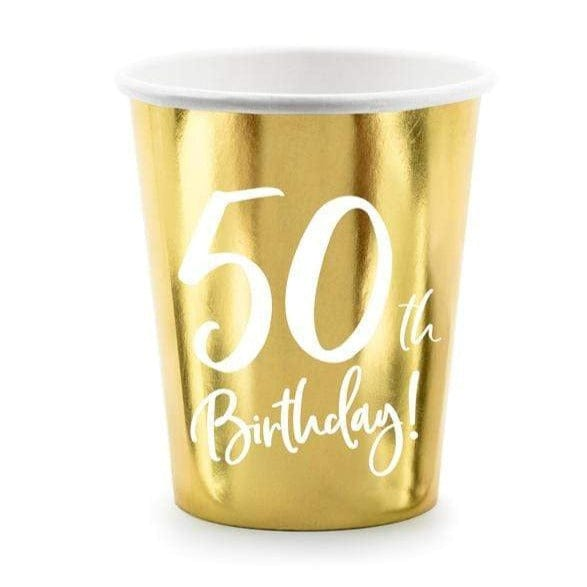 50th Birthday Party Cups | Gold Milestone Paper Cups