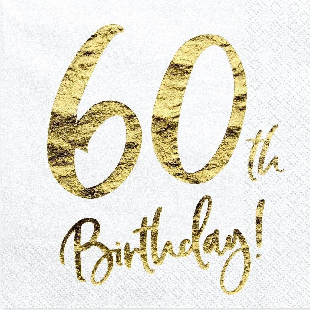 60th Birthday Party Napkins | 60th Birthday Party Supplies & Decorations
