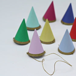 8 Mini Glitter Party Hats