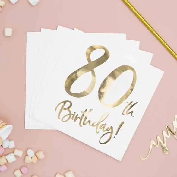 80th Birthday Party Supplies | 80th Party Napkins
