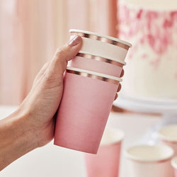 Pink and Rose Gold Ombre Party Cups by Ginger Ray