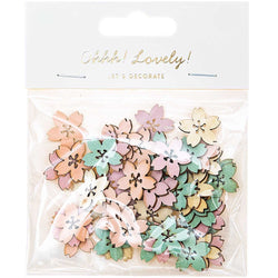 Wooden Pastel Flowers Table Confetti Embellishments Rico Design UK
