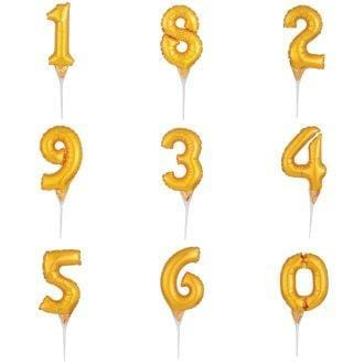 Balloon Number Cake Topper | Gold Number Foil Balloons | Cake Party Supplies