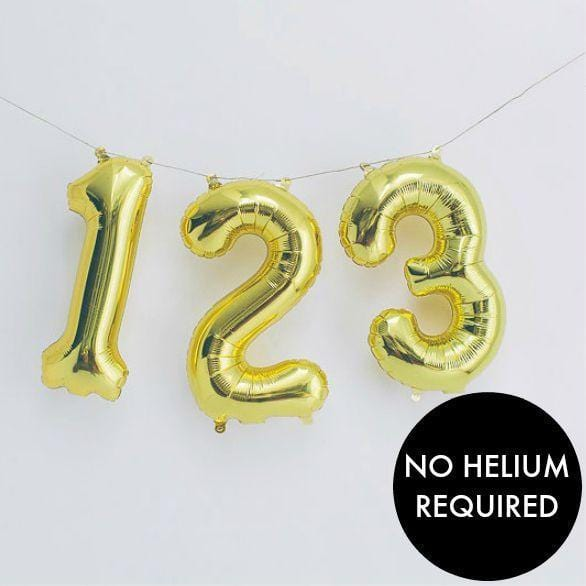 "Gold Balloon Numbers | 16"" Air Fill Balloon Numbers"