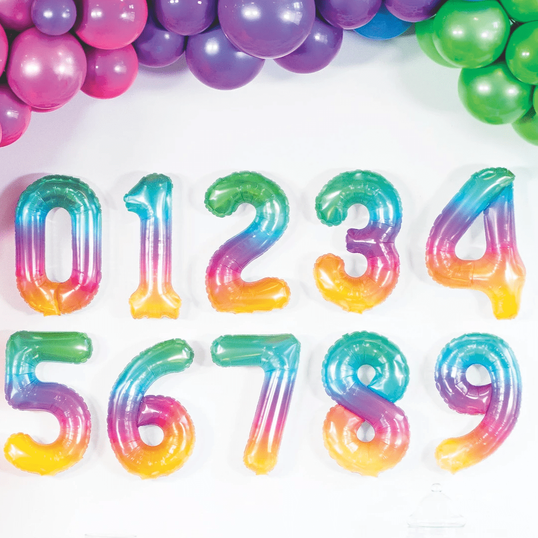 Jelli Ombre Rainbow Number Balloons 16""