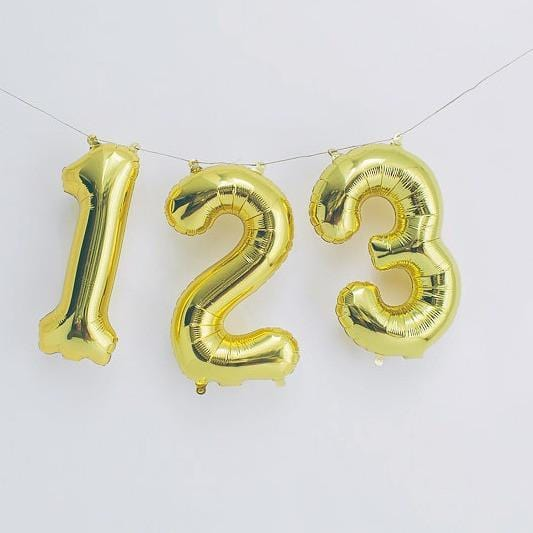 Gold Balloon Numbers | Air fill Number Shape Balloons