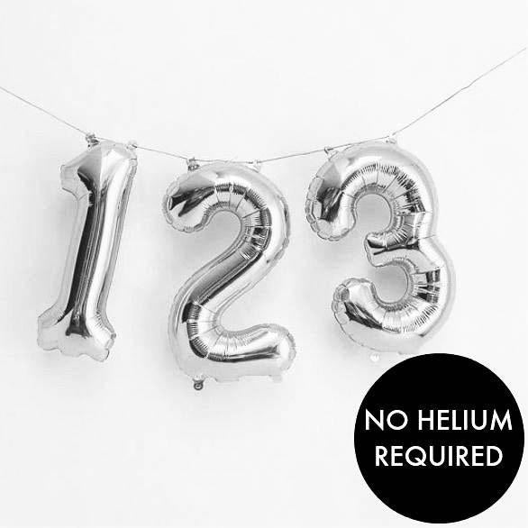 Silver Balloon Numbers | Air fill Number Shape Balloons