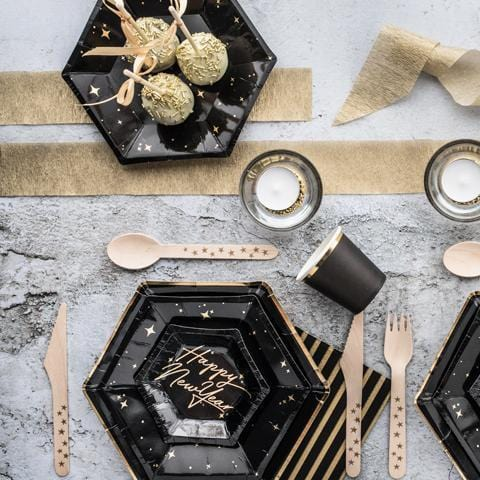 Black//Gold Sparkling Happy Birthday Plates 23cm 8pck Ages 18-100  Tableware