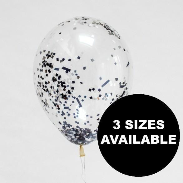 Black Sparkle Confetti Filled Balloons