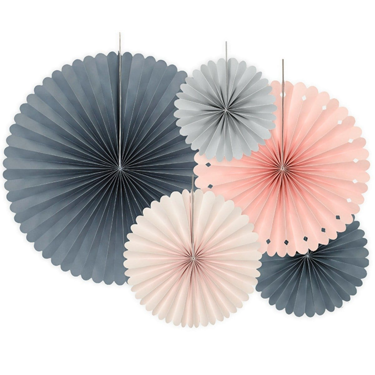 Blush Paper Fan Rosettes - Wedding Decor
