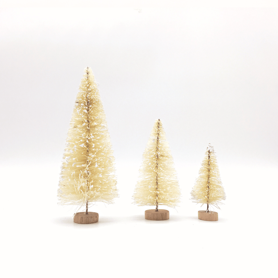 White Sisal Bottle Brush Trees | Christmas Tree Decorations UK