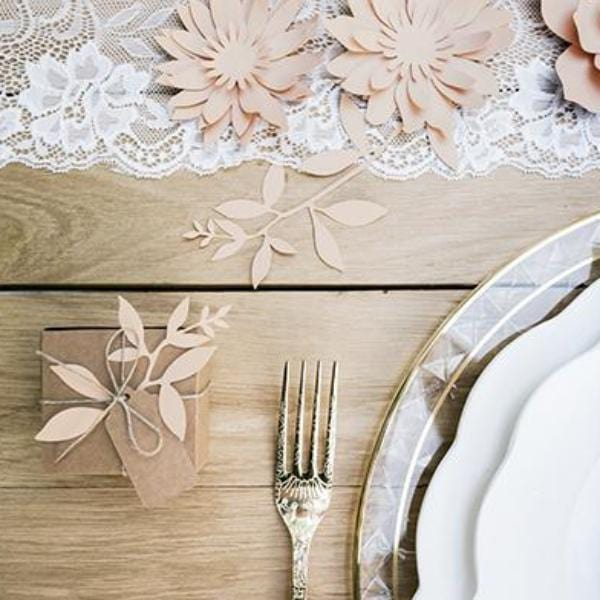 blush Wedding Leaves Tags and twine