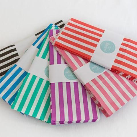 Colourful striped party bags