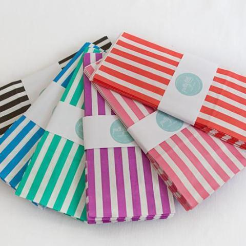 Candy striped paper party bags